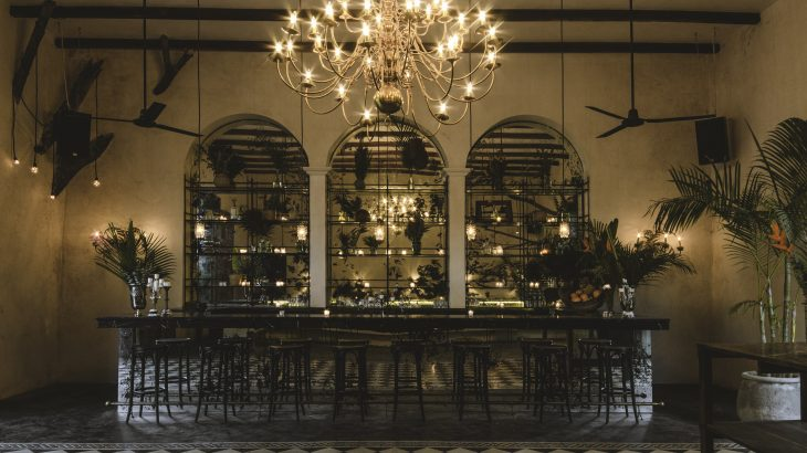 fancy-bar-mirrors-chandelier