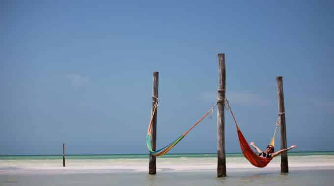 girl-hammock-isla-holbox-water-beach