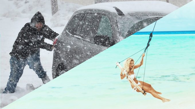 man-in-snow-vs-girl-swing-beach