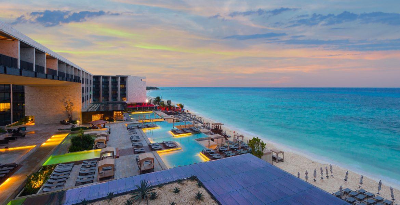 aerial-view-beach-resort-sunset