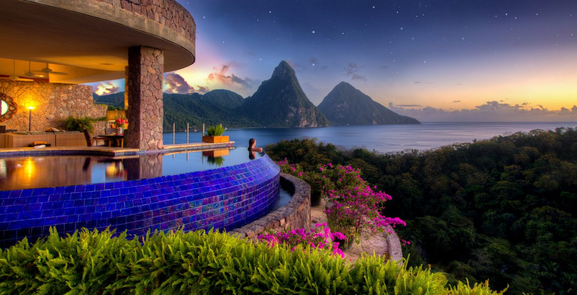 infinity-pool-bouganvilla-plants-pitons-mountains