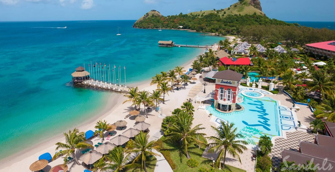 aerial-view-pool-beach-green-palm-tree-sandals-grand-st-lucian