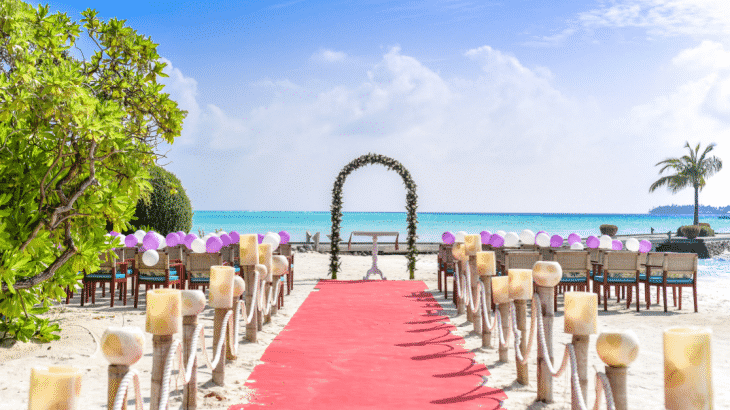 beach-wedding-setup-pink-walkway-arch-chairs