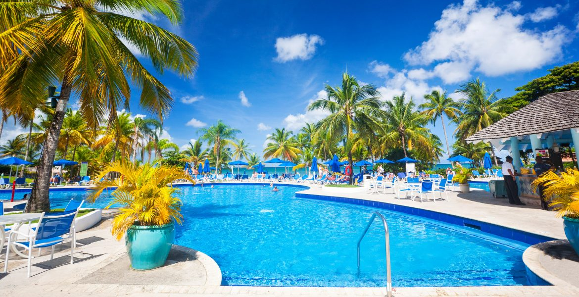 blue-swimming-pool-green-palm-trees
