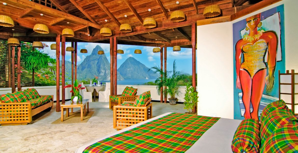 suite-with-bed-overlooking-pitons-peaks