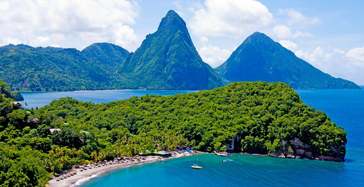pitons-peaks-blue-water-green-jungle