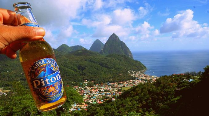 piton-beer-in-front-of-piton-peaks-st-lucia