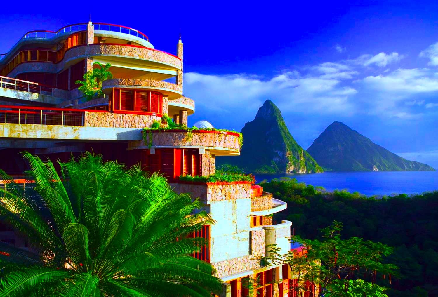 Ocean view of a terrace suite overlooking the Pitons in St. Lucia