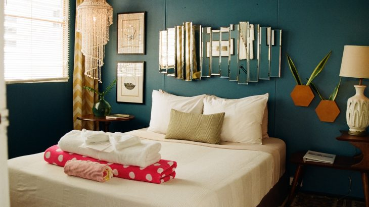 Bohemian style room with comfy bed in the Dreamcatcher hotel