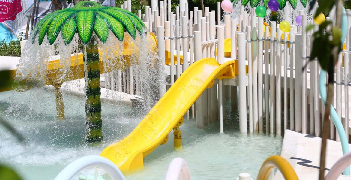 water-park-yellow-slide-white-wood-platform