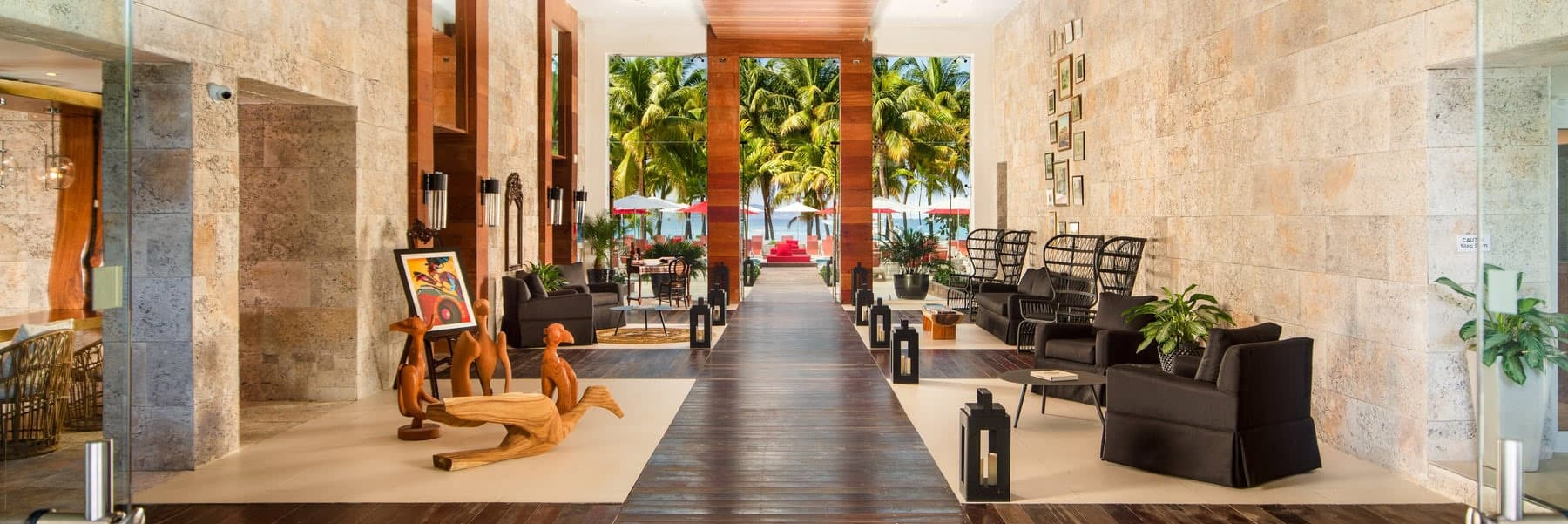 The chic lobby of the S Hotel Montego Bay has an open, breezy style