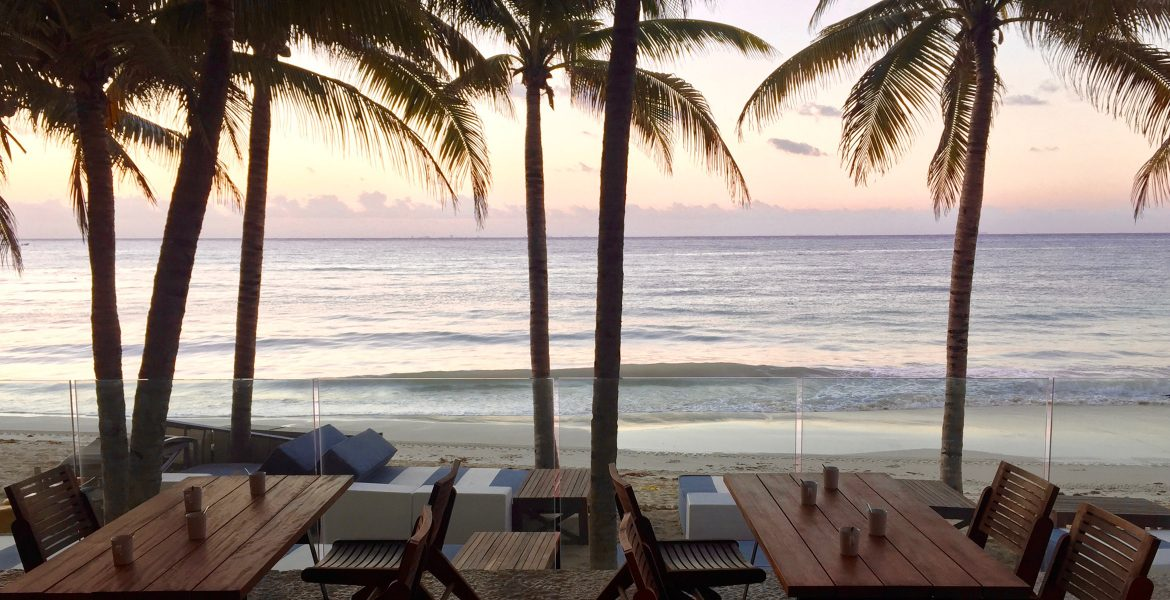 beachfront-dining-sunset-palm-trees