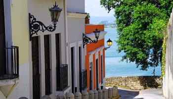 Calle Sol street overlooking the Caribbean Sea in Old San Juan