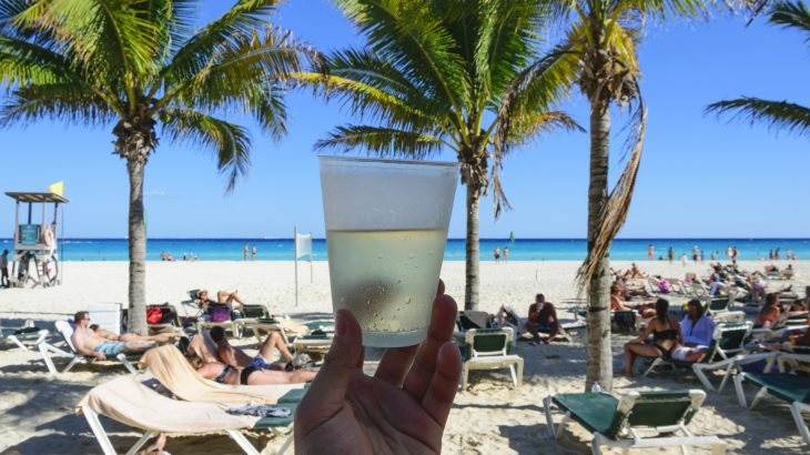 A person holding an alcoholic beverage in a plastic cup overlooking the beach