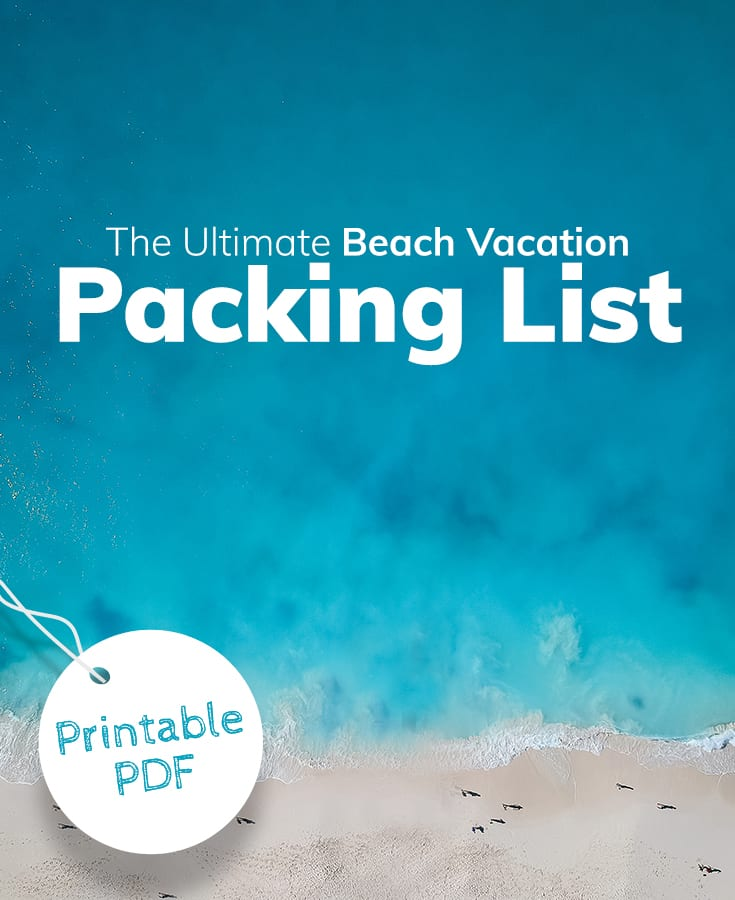 Beach vacation packing list printable PDF from Beach.com