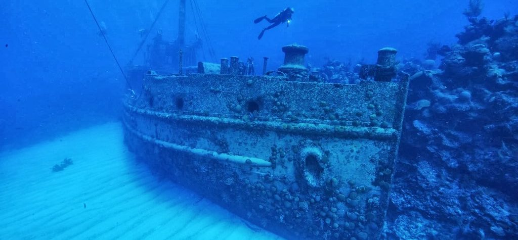 Diving in a shipwreck near the Bermuda Triangle