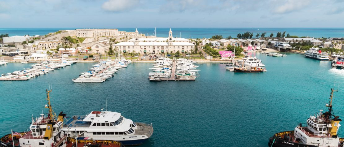 King's Wharf dock terminal from an aeriel view. Bermuda.