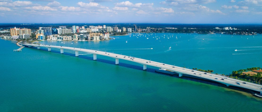 Bridge over blue water in Sarasota, FL