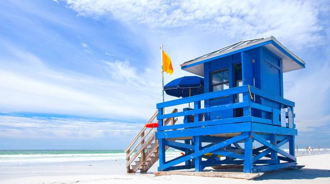 blue lifeguard hut on Siesta Key Beach in Sarasota Florida