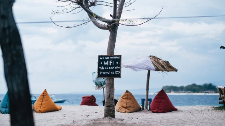 travel captions for instagram image of beach no wifi