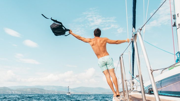 man on sailboat travel captions for instagram
