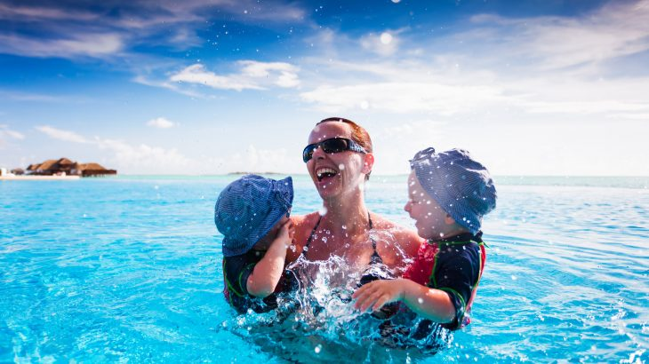 mother kids on vacation in ocean travel captions for instagram