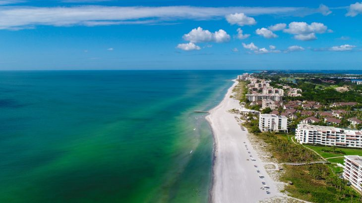 aerial view longboat key beaches near sarasota fl